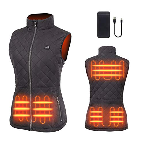 duo-nattern Heated Vest For Women USB Rechargeable Washable Heated Vest With Battery 5V Black Skiing, Camping, Hiking ( Black - Included Battery, Large )
