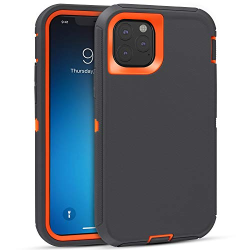 FOGEEK Case for iPhone 11 Pro, Heavy Duty Rugged Case, Full Body Protective Cover [Shockproof] Compatible for iPhone 11 Pro 2019 [5.8 Inch] (Dark Grey/Orange)