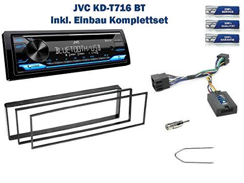 NIQ Autoradio Einbauset geeignet für Peugeot 307 inkl. JVC KD-T716BT & Lenkrad Fernbedienung Adapter in Schwarz