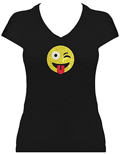 Elegantes Shirt Damen GLITZERDRUCK Emoji super funkelnd Smile Emoticon T-Shirt Karneval Fasching Kostüm freches Zwinkern mit Zunge Raus ZwinkerSmile, L