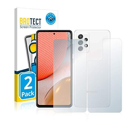 BROTECT Full-Cover Schutzfolie kompatibel mit Samsung Galaxy A72 (Vorder + Rückseite) (2 Stück) - Full-Screen Displayschutz-Folie, Kristall-Klar