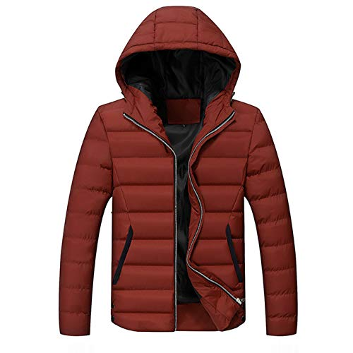 Piumino con Cappuccio Cappotti e Giacche Invernali da Uomo Cappotti Invernali Tessuto in Poliestere,Red,3XL(180-185CM)