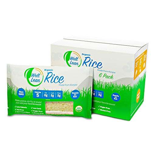Organic Well Lean Rice, Premium Shirataki Konjac Pasta, Non Gmo and Ready to Eat, Low Calorie and Low Carb