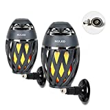 Portable Audio Tiki Torch Wall Mount Kit/Magnetic Base IP65 Waterproof NULED Flame Bluetooth Speaker w. Warm Yellow LED Flickers Atmosphere Indoor/Outdoor Table Lamp Stereo Sound Grey (1 Pair Gray)