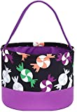 Halloween Trick or Treat Bags - Kids Candy Bucket Tote Bag - Purple & Black with Colorful Candies - Basket 6.75