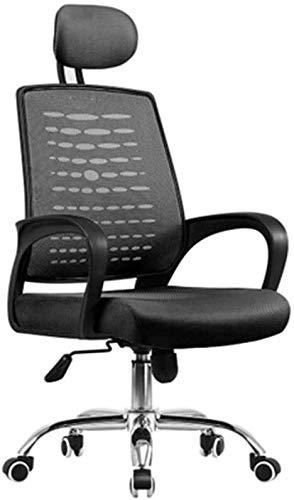 Silla de oficina de malla para escritorio de oficina con reposacabezas ajustable y respaldo alto y silla para ordenador ergonómica de altura ajustable para dormitorio y estudio atlético (color: negro)