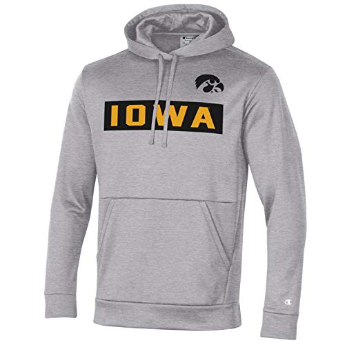 Champion NCAA-Field Day Sudadera con capucha para hombre, color gris Oxford, Iowa Hawkeyes, XX-Large