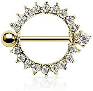 24k Gold with Clear Cz Full Circle Nipple Shields (1 Pair) Plated Over 316l Surgical Steel Nickle Free 14g