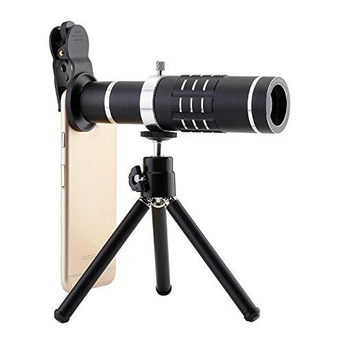 Nrpfell Teleobjetivo Universal Camara con Zoom de 18 x Telescopio con Lente de Ojo de pez Lente de teleobjetivo con Zoom Optico 18 x (Negro)