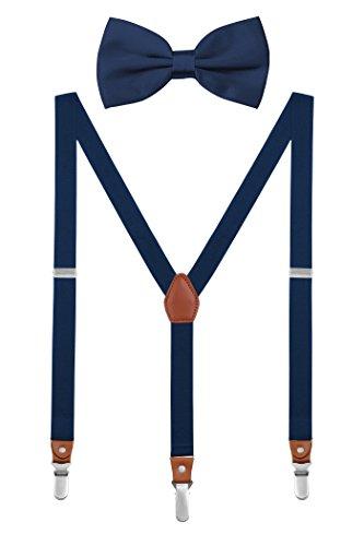 DEBAIJIA Schick Hosenträger mit Fliege Etui Damen Herren Jugendliche Suspenders Retro 3 Clips Elastisch Gürtel Längeverstellbar 155-180 Körperhöhe - Marineblau