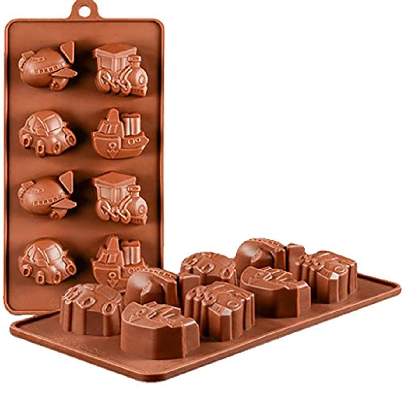 HSada 8 Cavity Thomas Train Car Airplane Ship Shaped Silicone Cake Baking Mold Cake Pan Muffin Cups Handmade Soap Molds Biscuit Chocolate Ice Cube Tray DIY Mold