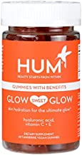 HUM Glow Sweet Glow - Skin Hydration Gummy Hearts Supplement - Promotes Healthy Skin with Hyaluronic Acid, Vitamin C & Vitamin E - Non-GMO & Gluten Free (60 Vegan Tangerine-Flavored Gummies)