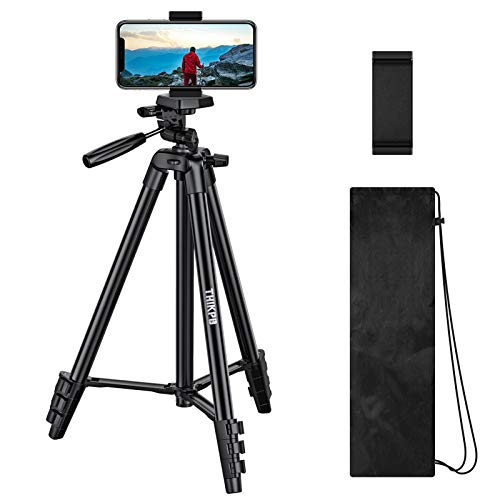 THIKPO 50-Inch Lightweight Tripod, Portable Travel Tripod 50' Aluminum Alloy Phone Tripod with 1/4' Mounting Screw, Phone Holder, Carry Bag for Travel/Camera/Cellphone/Tiktoker