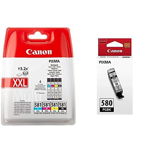 Canon Cli-581Xxl 4 Multipack Tinta Original Negro/Cian/Magenta/Amarillo XXL Impresora Inyeccion + Pgi-580 Pgbk Cartucho Tinta Original Negro Impresora Inyeccion Tinta Pixma