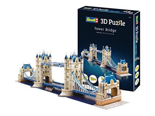 Revell 3D Puzzle 00207 Tower Bridge aus London, eines der bekanntesten Bauwerke, Breite 80 cm Die Welt in 3D entdecken, Bastelspass für Jung und Alt, farbig