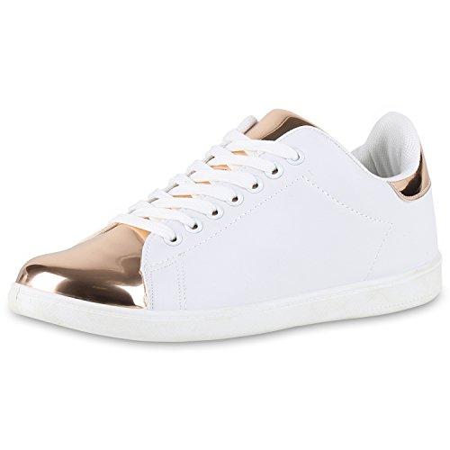 SCARPE VITA Damen Sneakers Metallic Cap Sportschuhe Schnürer Freizeit Schuhe 160549 Weiss Weiss Rose Gold 36