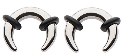 Pair Steel Ear Plugs Tunnels Tapers Pinchers Horseshoes Gauges 0g 2g 4g 6g 8g 10g 12g 14g (10g)