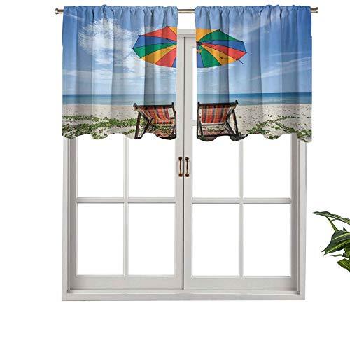 Hiiiman Cortinas con dobladillo para barra, un par de sillas, paraguas colorido en la playa, juego de 1, 137 x 45 cm para ventana de cocina