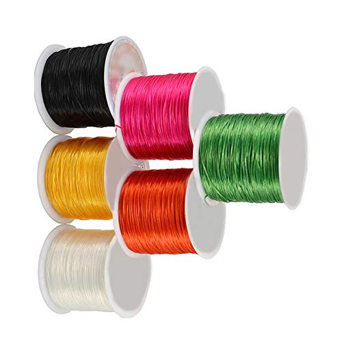 RENSHENKTO Pulsera elástica de nailon con cuentas de alambre para manualidades, 6 rollos