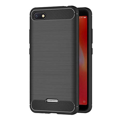"Coovertify Funda Fibra de Carbono Negra Xiaomi Redmi 6A, Carcasa Negra TPU Gel Silicona Flexible Textura Efecto Fibra de Carbono para Xiaomi Redmi 6A (5,45"")"