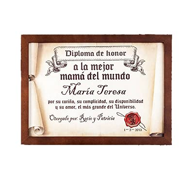 Calledelregalo Diplomas pergamino Personalizados para Todos los destinatarios (A la Mejor mamá) con Marco