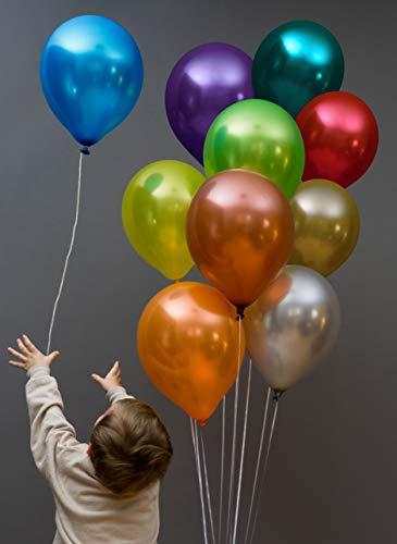 Funny Papi Metallic Luftballons Groß - 28 cm Hochzeit Bunt, für Luft & Helium - 50 Stück Ballons Latex in 10 Party Farben, Luftballon für Geburtstag & Kindergeburtstag Dekoration.