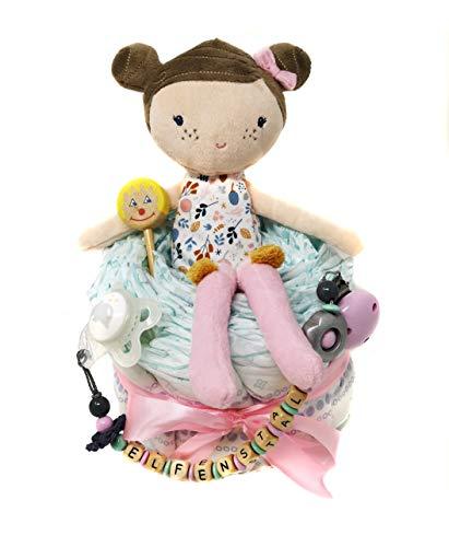 Elfenstall Windeltorte/Pamperstorte mit Spielzeug und Schnullertkette als tolles Geschenk/Geschenkset zur Geburt oder Taufe auf Wunsch mit Name des Babys Little Dutch Puppe Rosa