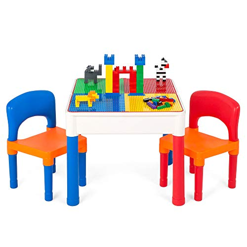 Best Choice Products 3-in-1 Kids Activity Table Set w/Building Block Table, Craft Table, Water Table, Storage, 2 Chairs