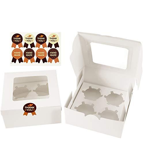 Cupcake Box, Diealles 8 Stück Cupcake Muffin Box für 4 Kuchen, Weiß