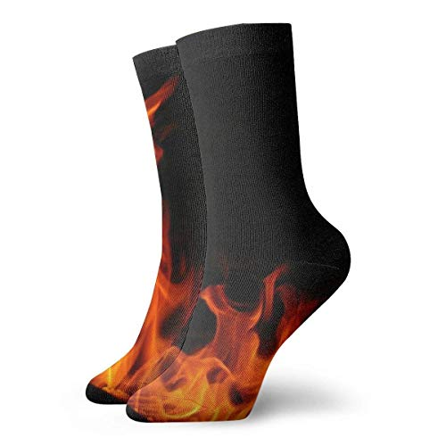 QUEMIN Pascua Medias deportivas transpirables para hombres y mujeres Calcetines deportivos de poliéster divertidos oscuros con llamas de fuego naranja 30 cm