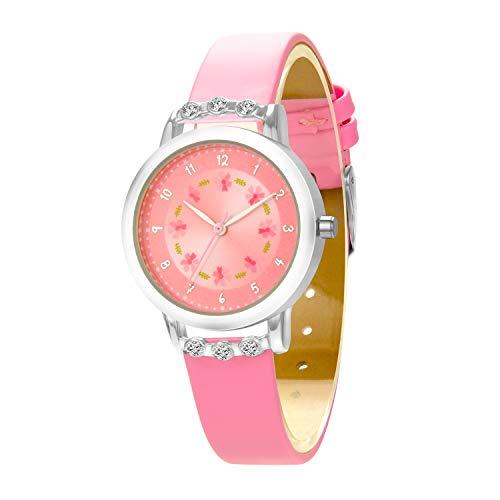 Kinderuhr Mädchen Uhren Analog Classic Quarz Uhr Kinderuhren wasserdicht mit Blumenzifferblatt Diamantgehäuse Lederarmband Pink von Dekyda