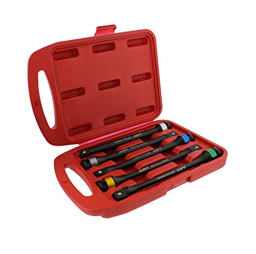 ABN 1/2in Drive 8in Long Color-Coded Torque Limiting Socket Extension Bar 5pc Tool Kit 65-140 ft/lb Set
