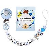 MCGMITT Clip para chupete con nombre personalizado, pinzas para dentición simuladas, pinza para chupete, soporte para chupete de silicona, soporte Binky para Baby Shower, sin BPA(Azul claro)