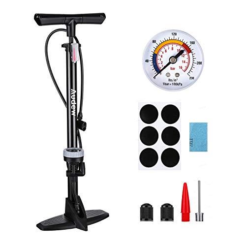 Audew Fahrradpumpe 230Psi Standpumpe Hochdruck Luftumpe Fahrrad Luftpumpe für Fahrrad und für Luftmatratze Autoventil Standluftpumpe Reversible Presta und Schrader Reparaturwerkzeuge&aufblasbarem Kit