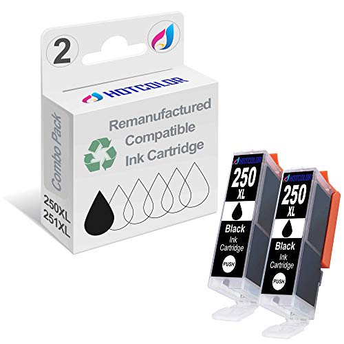 HOTCOLOR Compatible Ink Cartridge Replacement for PGI-250XL for Canon PIXMA MX922 iP8720 Ix6820 MG7520 MG6420 MG5620 MG5721 Printers (2Black, 2Pack)