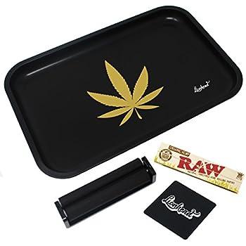 "Rolling Tray Full Size Rolling Tray Bundle – 12"" x 8"" Tray + 110mm Rolling Machine + King Size Raw Rolling Papers – Lionhead (Black)"