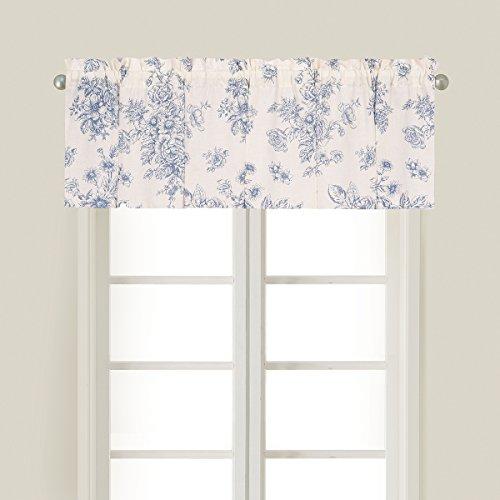 C&F Home Nelly Blue Toile Floral Botanical Spring Summer Cotton Bedroom Guestroom Premium Window Valance Valance Blue