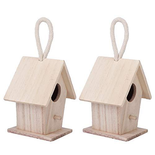 2Pcs Casetta per uccelli in legno, mangiatoia per uccelli appesa all'esterno Giardino Patio Giardino Decorativo Casetta per uccelli in legno massello effetto invecchiato Hand-made per uccellini