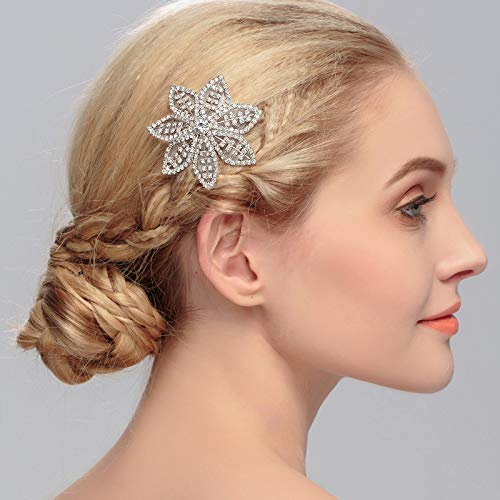 Aukmla Weekly update Flower Crystal Hair Comb Ac Headpiece At the price of surprise Wedding Bridal