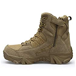 Military Boot with Side Zipper by NOXNEX