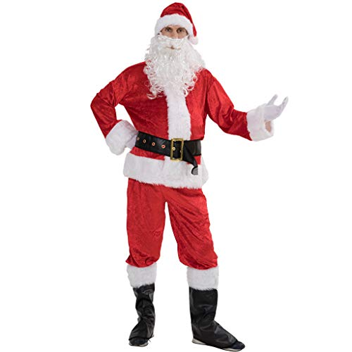 EraSpooky Uomo di qualità Professionale Babbo Natale Babbo Natale Suit Costume da Natale Outfit