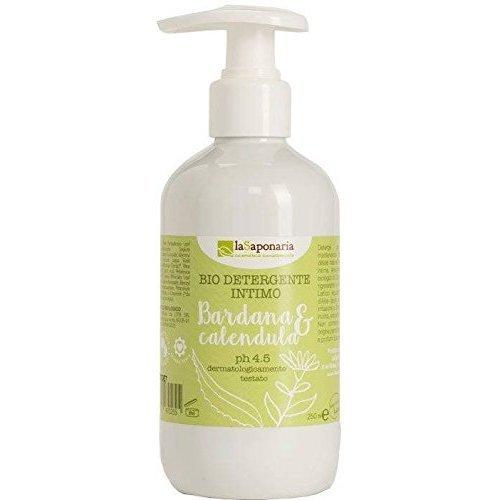 LA SAPONARIA - Gel Nettoyant Intime Bardane & Calendula - Préserve l'équilibre de la zone intime - Nettoie en douceur - Rééquilibre et apaise - Anti-inflammatoire - pH 4,5 - 250 ml