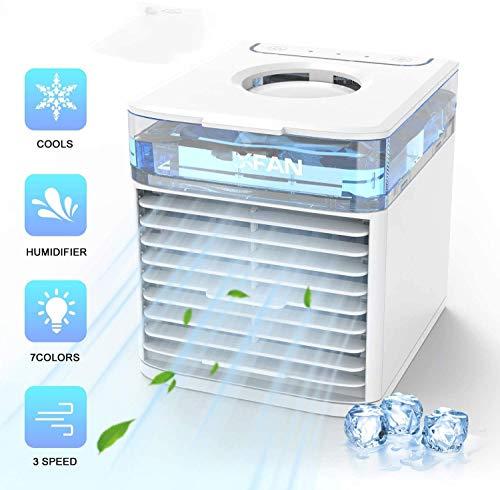 GYS El Aire frío - Mini acondicionador de Aire portátil del Ventilador - 4 en 1 refrigerador evaporativo Personal - humidificador con 7 Colores de luz LED - 3 Speed ??USB Ventilador de Escritorio