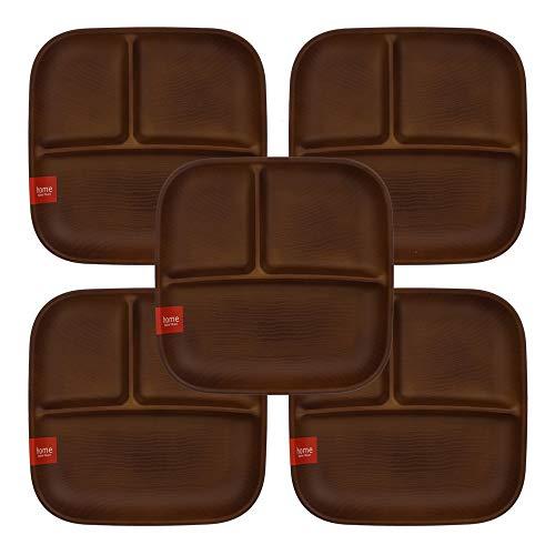 テーブルウェアイースト ランチプレート 角型3つ仕切り 5枚セット(ライトブラウン) 食器セット レンジ・食洗機OK 仕切り皿 ワンプレート 食器 レンジ対応 食洗機対応