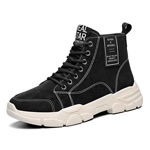 Zapatillas de Deporte Hombre Aire Libre Botas Cordones Botines Sintético Tela Ligeras Transpirables para Casual Caminar Trabajos Negro EU 40