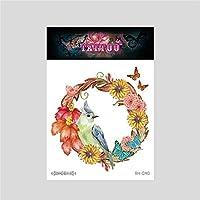 女性と男性のファッションボディーアートの大人の防水手フェイクタトゥーに適した花の鳥、一時的なタトゥーステッカー12枚,Rh040