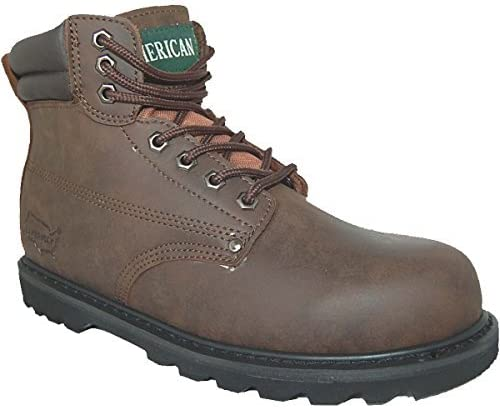 Goodyear Leather Water Resistant Work Boot, Men Size 9 Brown