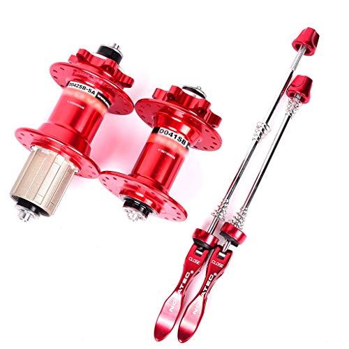 MZPWJD MTB Mozzi Bici 28/32/36H Freno Disco Mozzo per Bicicletta Cuscinetto Sigillato 3 Pawls con ASSE QR 8-11 velocità Cassetta (Color : Red, Size : 36H)