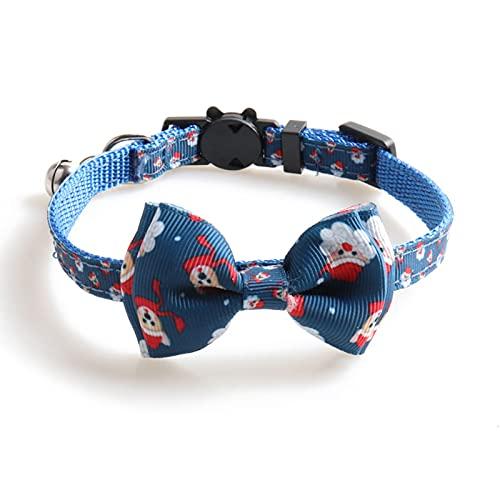 Collar de gato, collar de copo de nieve de Papá Noel patrón decorativo extraíble mascota gatito collar collar collar con campana para Navidad - azul oscuro