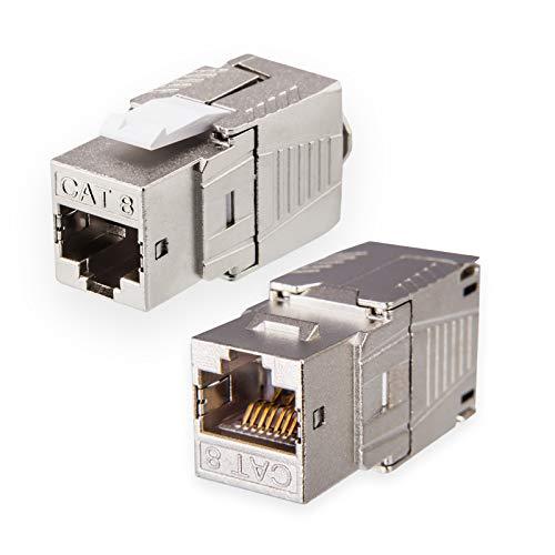 2X Cat.8.1 Keystone Jack RJ 45 Buchse Modul 2000 MHz 40Gbit vollgeschirmt werkzeuglos für cat8.1 STP RJ45 Kupplung Netzwerkkabel Einbaubuchse für Patchpanel Verlegekabel Patchfeld Ethernet Anschluss